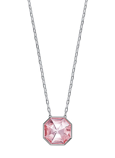 Baccarat LIllustre Medium Pendant Necklace, Mirrored Light Pink Crystal
