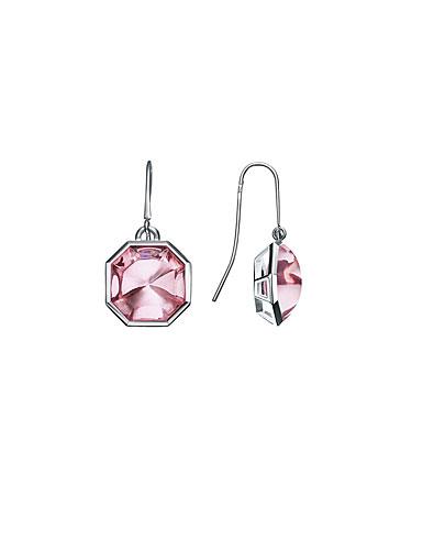 Baccarat LIllustre Wire Pierced Earrings, Mirrored Light Pink Crystal