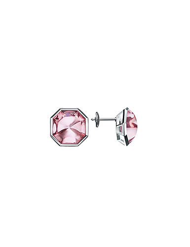 Baccarat LIllustre Stud Pierced Earrings, Mirrored Light Pink Crystal