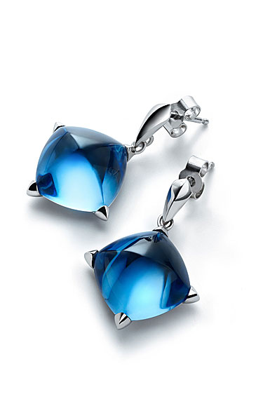 Baccarat Crystal Medicis Stem Earrings Sterling Silver Blue Riviera