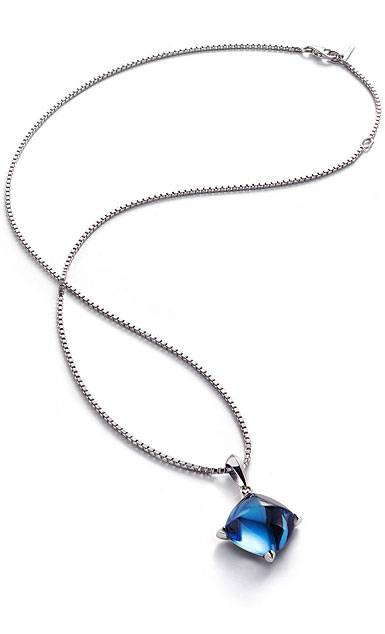 Baccarat Crystal Medicis Necklace Sterling Silver Blue Riviera