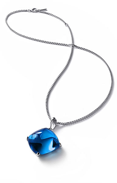 Baccarat Crystal Medicis Large Necklace Sterling Silver Blue Riviera