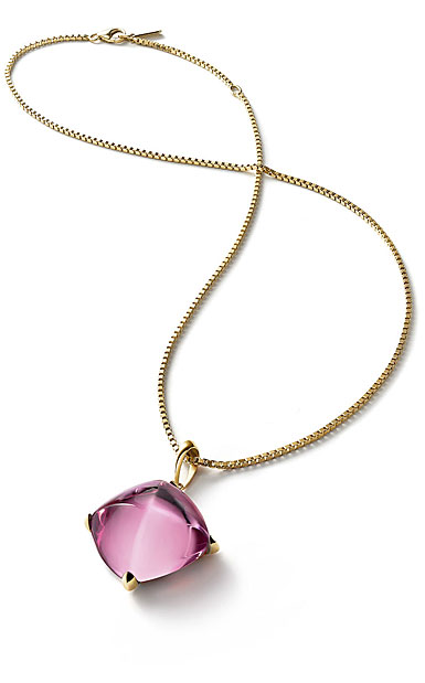 Baccarat Crystal Medicis Large Necklace Vermeil Gold Pink