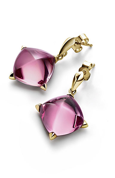 Baccarat Crystal Medicis Stem Earrings Vermeil Gold Pink