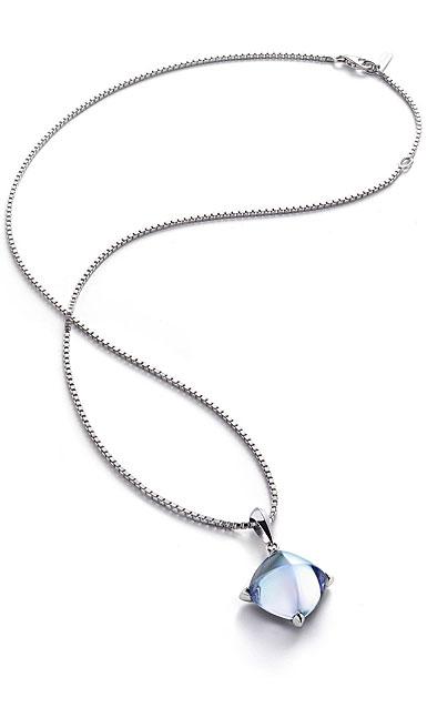 Baccarat Crystal Medicis Necklace Sterling Silver Aqua