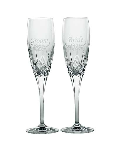Galway Crystal Bride and Groom Floral Spray Flute, Pair