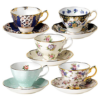 Royal Doulton China Royal Albert China 100 Years 1900-1940 10 Piece Teacup and Saucer Set