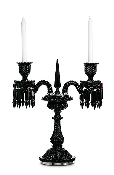 Baccarat Crystal, Zenith Black 2-Light Crystal Candelabra