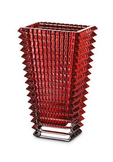 Baccarat Eye Small Rectangular Vase, Red