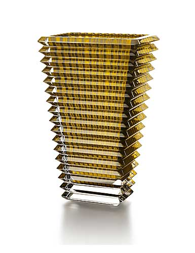 Baccarat Crystal, Eye Rectangular Large Crystal Vase, Yellow