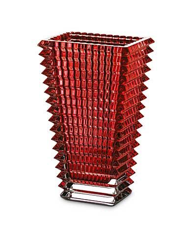 Baccarat Crystal, Eye Rectangular Large Crystal Vase, Red