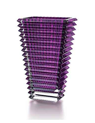 Baccarat Crystal, Eye Rectangular Large Crystal Vase, Amethyst
