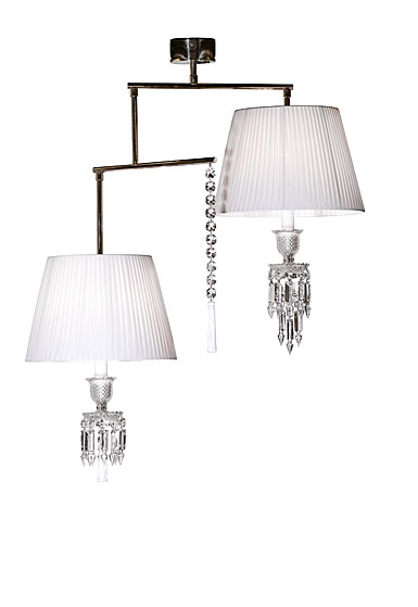 Baccarat Crystal, Torch Celing 2 Light Mobile with Tassel Crystal Chandelier