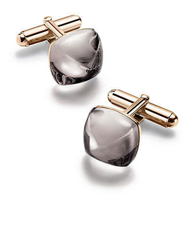 Baccarat Crystal Medicis Cufflinks Vermeil Rose Gold Mist
