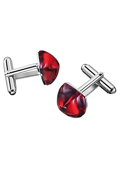 Baccarat Crystal Medicis Sterling Silver Red Cufflinks, Pair