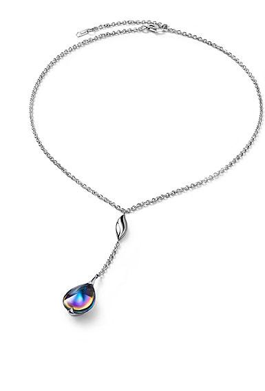 Baccarat Crystal Fleur De Psydelic Blue Scarabee Silver Small Pendant Necklace