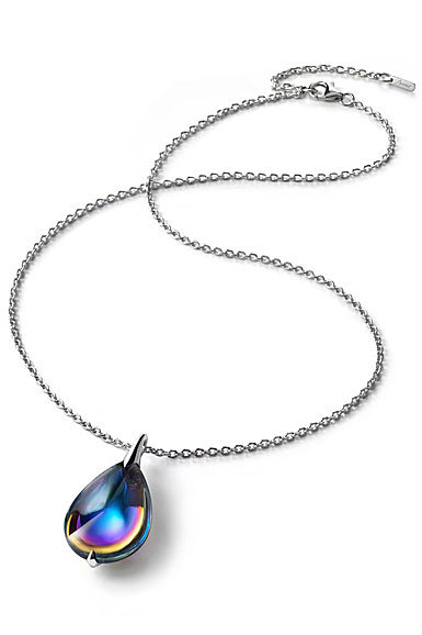 Baccarat Crystal Fleur De Psydelic Blue Scarabee Silver Large Pendant Necklace