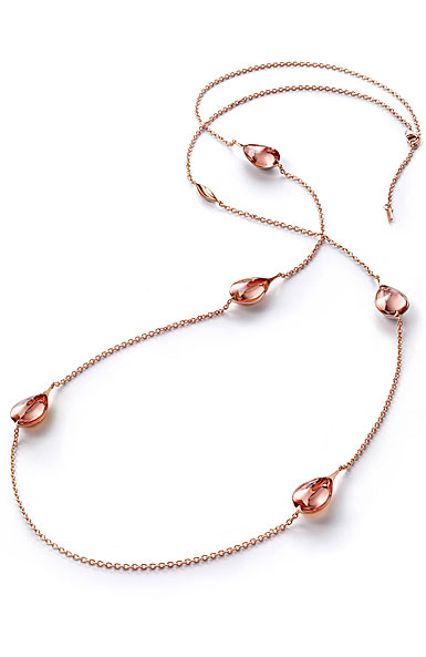 Baccarat Crystal Fleur De Psydelic Light Pink Rose Gold Vermeil Long Necklace