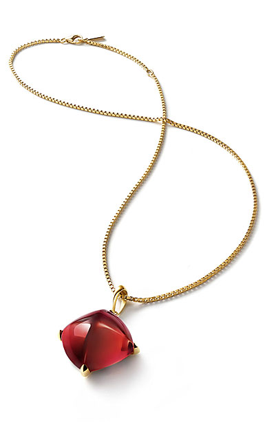 Baccarat Crystal Medicis Large Necklace, Red Mirror and Gold Vermeil