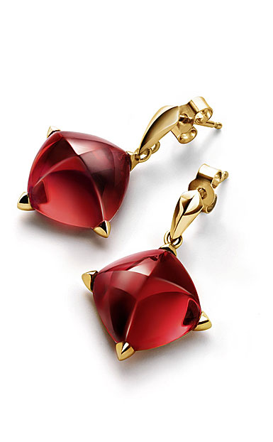 Baccarat Crystal Medicis Stem Earrings, Red Mirror and Gold Vermeil