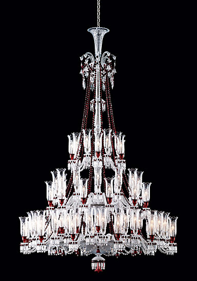 Baccarat Crystal, Zenith Red and Clear 84 Light Crystal Chandelier