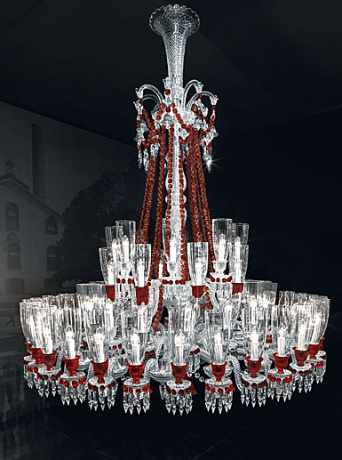 Baccarat Crystal, Zenith Red and Clear 64 Light Chandelier
