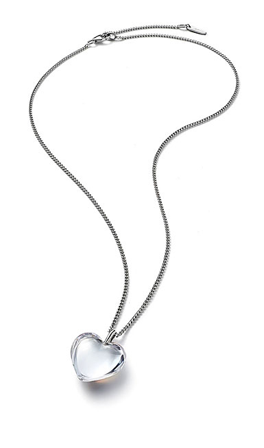 Baccarat Crystal Romance Pendant Necklace Small Silver Clear Mirror