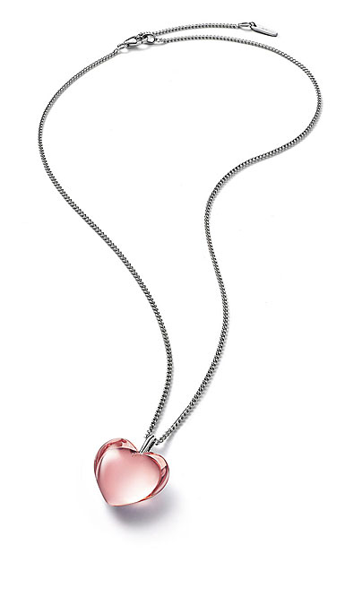 Baccarat Crystal Romance Pendant Necklace Small Silver Light Pink Mirror