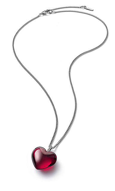 Baccarat Crystal Romance Pendant Necklace Small Silver Red Mirror