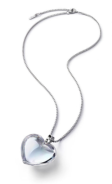Baccarat Crystal Romance Pendant Necklace Large Silver Clear Mirror