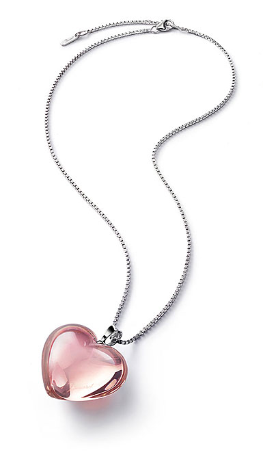 Baccarat Crystal Romance Pendant Necklace Large Silver Light Pink Mirror