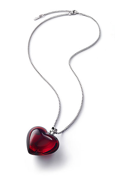 Baccarat Crystal Romance Pendant Necklace Large Silver Red Mirror
