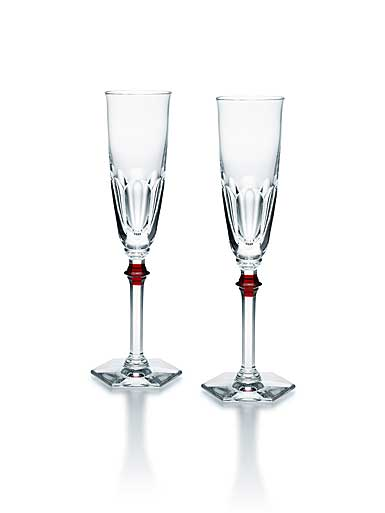 Baccarat Harcourt Eve 1841 Champagne Flutes with Red Knob, Pair