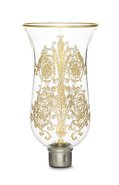 Baccarat Crystal, Hurricane Shade, Tulipe Flat Top, Gilded, Acanthus