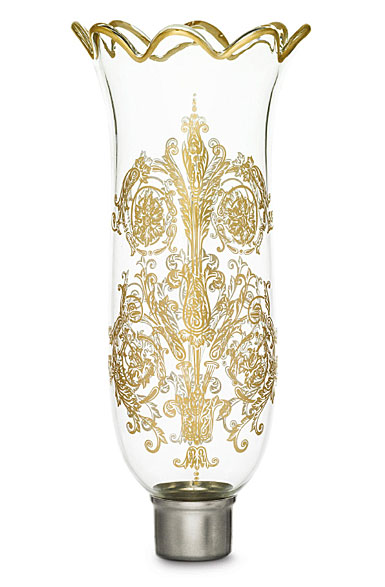 Baccarat Crystal, Hurricane Shade, Scalloped Top, Gilded, Acanthus