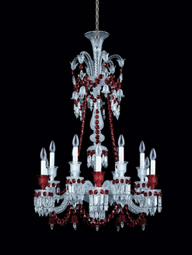 baccarat crystal zenith red and clear 12 light crystal chandelier long