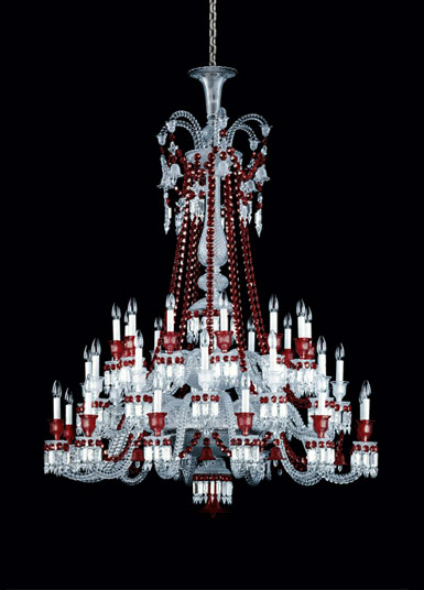 Baccarat Crystal, Zenith Red and Clear 36 Light Crystal Chandelier