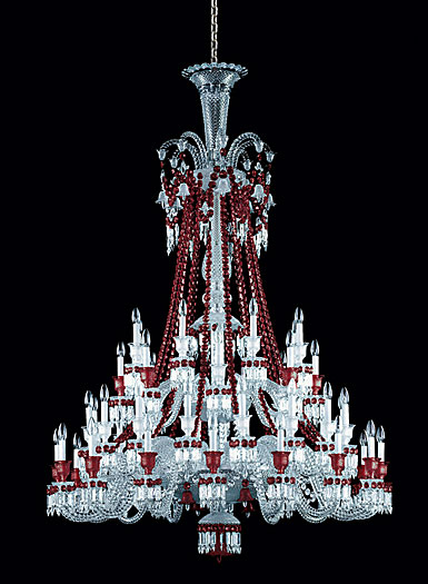 Baccarat Crystal, Zenith Red and Clear 48 Light Crystal Chandelier