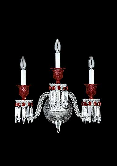 Baccarat crystal zenith 3 light wall crystal sconce clear and red