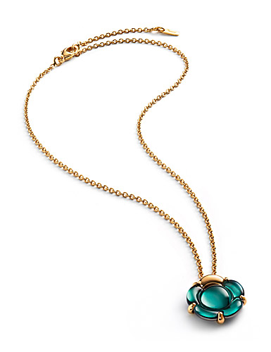 Baccarat Crystal B Flower Small Necklace, Green Mordore and Gold Vermeil