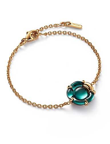 Baccarat Crystal B Flower Bracelet, Green Mordore and Gold Vermeil