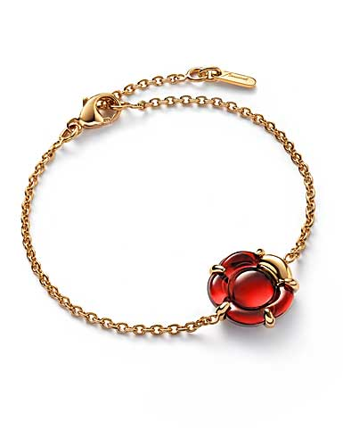 Baccarat B Flower Bracelet, Red Mirror and Vermeil
