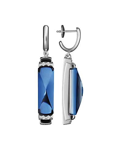 Baccarat Crystal Louxor Earrings, Silver and Blue Mordore