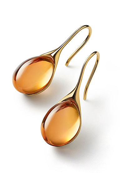 Baccarat Crystal Galea Wire Earrings Vermeil Gold Honey