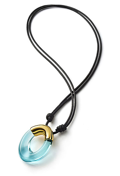 Baccarat Crystal Galea Pendant Necklace Vermeil Gold Turquoise