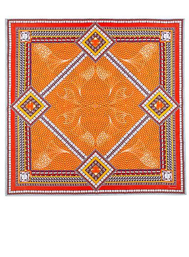 "Baccarat Louxor Silk Twill Scarf Carre 39"" X 39"", Orange"