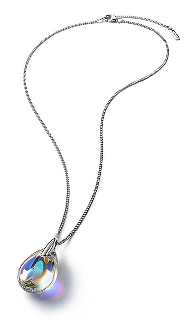 Baccarat Crystal Psydelic Necklace Sterling Silver Iridescent Clear