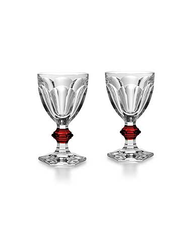 Baccarat Crystal, Harcourt 1841 with Red Knob Crystal Goblet, Pair