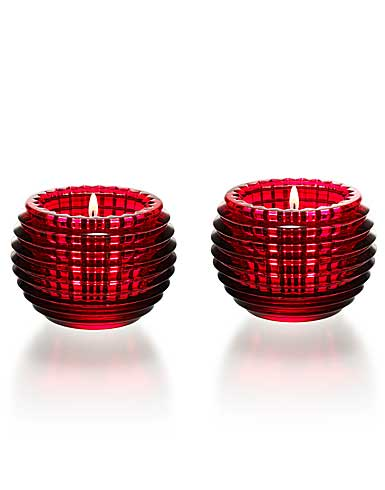 Baccarat Crystal, Red Eye Crystal Votive, Pair