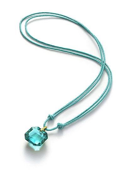 Baccarat Crystal Par Marie Helene De Taillac Turquoise Pendant, Gold Necklace